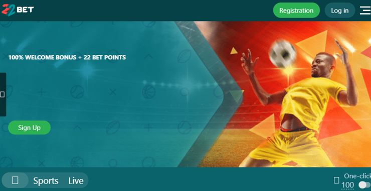 Bet on football, rugby, basketball, tennis and many other sports on the site 22 bet