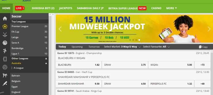 Bet on your favorite team in real time at betika.com and enter the jackpot