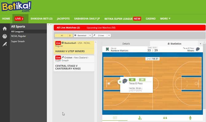 Betika live games - basketball USA - NCAA Regular