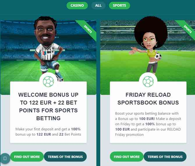 Make your first deposit and get a 100% bonus up to 122 EUR and 22 Bet Points
