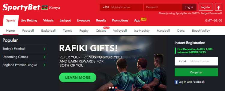 Sportybet main page First Deposit up to KES 1,000 return as KARIBU GIFTS